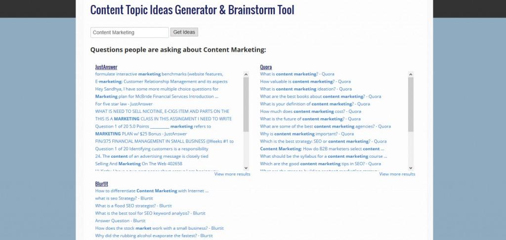 Content Topic Ideas Generator & Brainstorm Tool