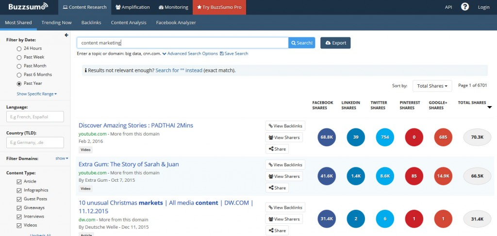 BuzzSumo Content Marketing Tool