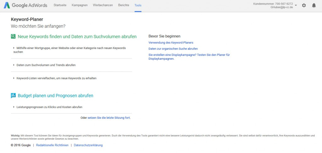 Google AdWords Keyword Tool fürs Content Marketing