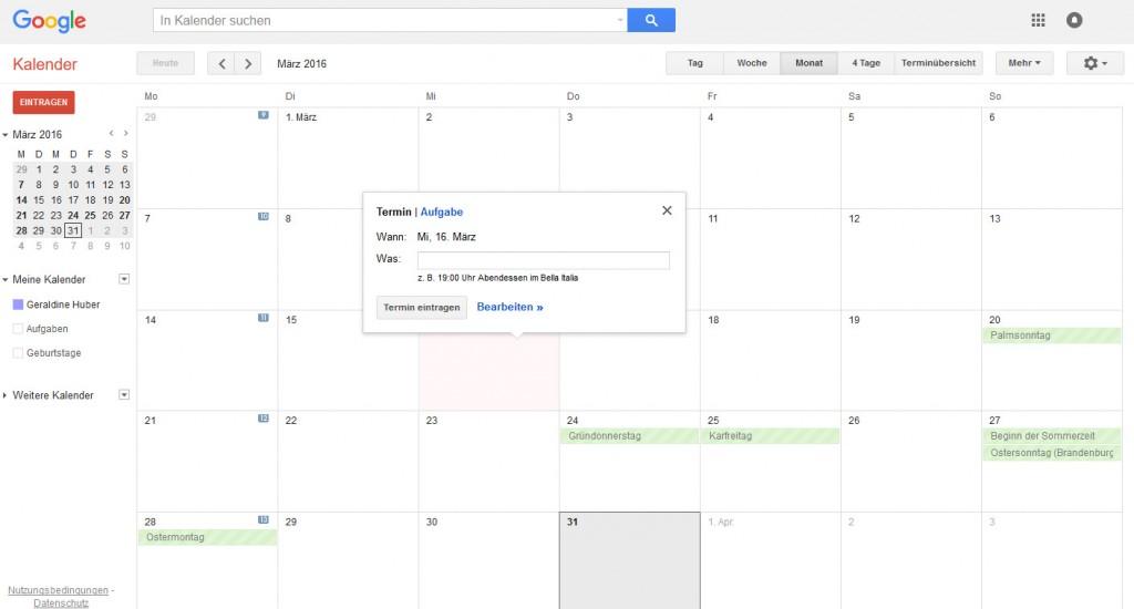 Google Kalender fürs Content Marketing