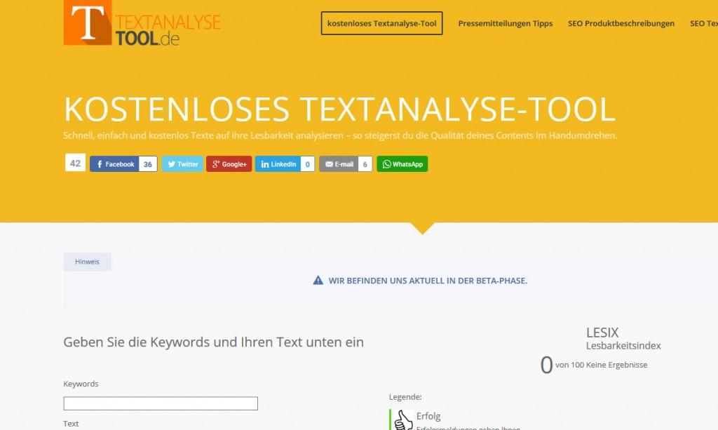 Textanalyse Tool fürs Content Marketing