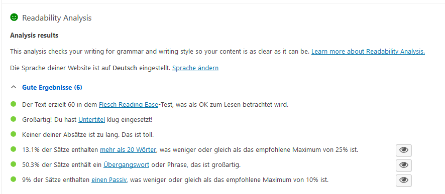 Content SEO Analyse durch YOAST Plugin