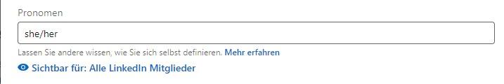 So sieht die Option Pronomen im LinkedIn Profil aus.