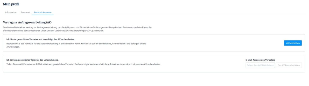Screenshot Profil Rechtsdokumente